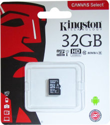 Карта памяти Kingston SDCS Canvas Select 16 Гб (microSD, 10 класс)